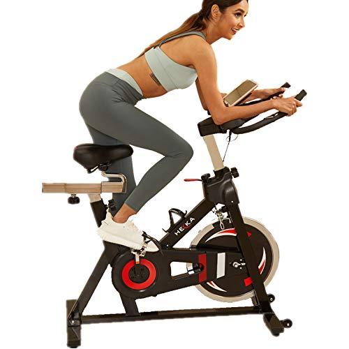 HEKA Vélo d'appartement Home Bike Vélo Cycling Fitness avec Moniteur de Fréquence Cardiaque Écran LCD Roue d'inertie Lourde (Noir)