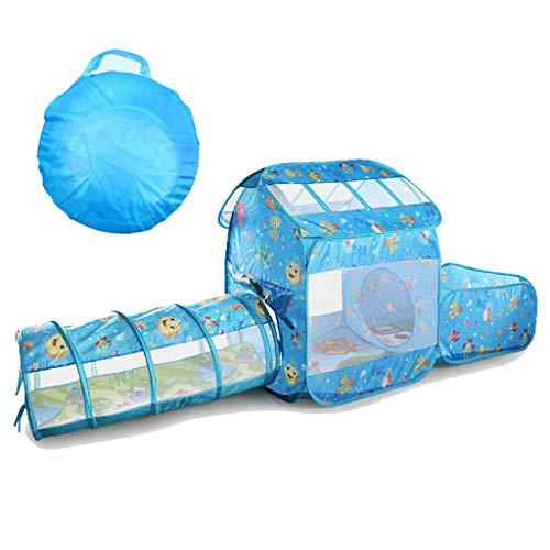 Tienda de juegos para niños, tienda de campaña emergente con túnel, casa de juegos de túnel de bolas, con bolsa de almacenamiento con cremallera, adecuada para niños, niñas, bebés, uso en interiores
