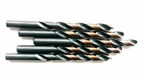 """5PCS,3/8"""", HSS Jobber Length Black and Gold Coated Twist Drill Bits, Metal drill, ideal for drilling on mild steel, copper, Aluminum, Zinc alloy etc. (3/8)"""