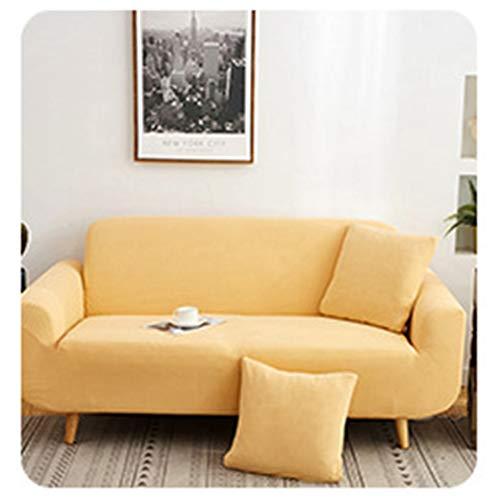 GELing Stretch Sofabezug Sofaüberwurf Weich Möbelschutz Sofaüberzug Couchbezug Sofahusse Gelb 4 Sitzer(235-300CM)