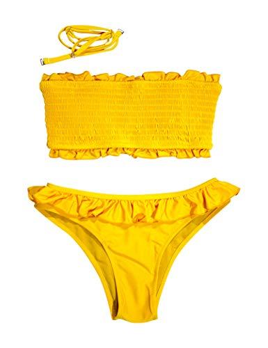 Mermaid Damen-Bikini, Bandeau mit Rüschen, Badeanzug für Damen, Gelb L