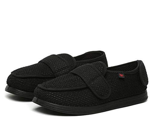 B/H Verstellbare Hausschuhe Bequeme,Diabetische Fußschuhe für Frühling und Sommer, verstellbare Daumen-Valgus-Schuhe - Schwarz A_45,Herren Klett-Halbschuh,Gesundheits-Schuh