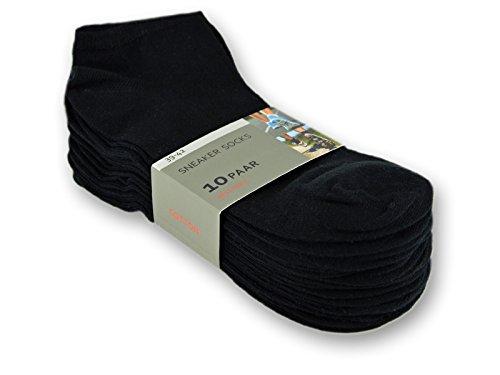 10 bis 100 Paar Sneaker Socken Baumwolle Damen und Herren- sockenkauf24 (43-46, 10 Paar | Schwarz)