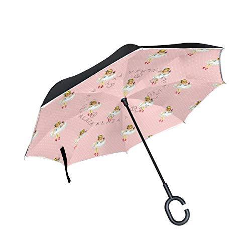 MALPLENA Ballett-M?dchen-Muster Auto Regenschirm auf den Kopf Reverse Inverted Umbrellas für Frauen/Männer/Auto/Regen im Freien wasserdicht Winddicht
