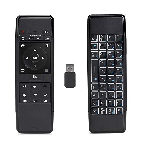 flowlamp Air Mouse Fernbedienung VONTAR 69A, 2,4 GHz Mini-Funk-Tastatur mit beleuchtetem 3-Gyro-3-G-Sensor, Kompatibel für Android-TV-Box Projektor Media-Player Web-TV Smart-TV PC Notebook usw