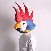 パンダ紙型ヘッドギア、動物マスク、DIY手作りクリエイティブマスク、ジャイアントパンダヘッドギア(Color:C)