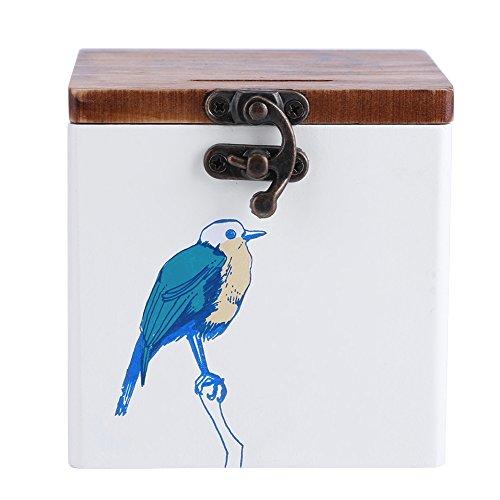 Retro Cover creatieve houten kas voor het bewaren van kleine onderdelen of als spaarvarken met 10 x 10 x 10 cm vogel