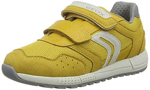 Geox J ALBEN Boy C, Zapatillas Niños, Amarillo (Dk Yellow/Grey C0897), 35 EU