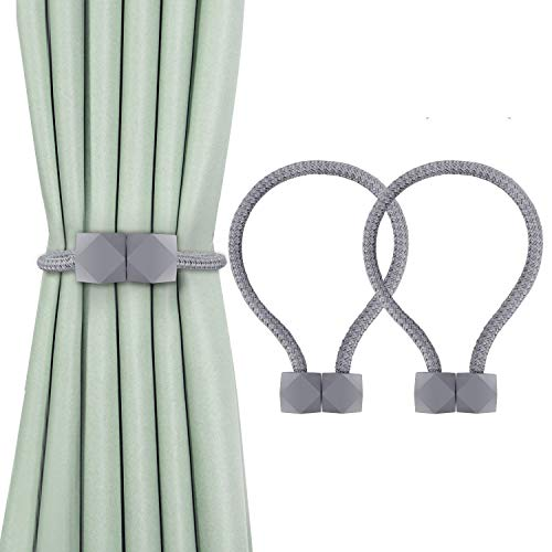 2 Pack Magnetic Curtain Tiebacks The Most Convenient Drape Tie Backs, Decorative Rope Holdback Holder for holdbacks Big, Decorative Curtain Holdbacks (16 Inch Long), Gray