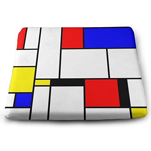 Houity Mondriaan 100% Polyester Vierkant Kussen Met Kussen Core, Stoel Kussen Tatami Vloermat 13.8x15inch
