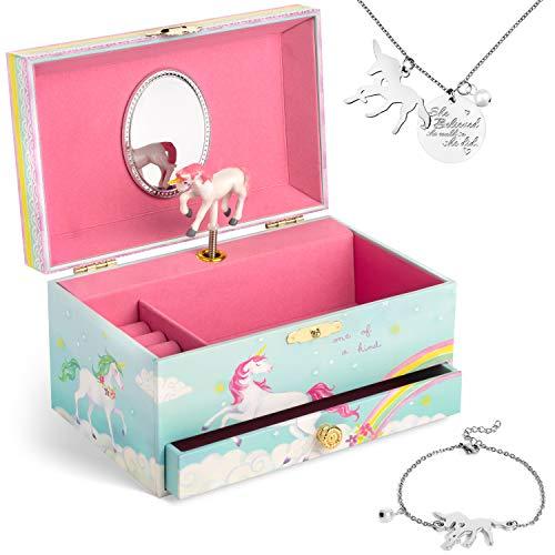 Jewelkeeper - Caja Musical de Unicornio y Juego de Joyas de niñitas - 3 Regalos de Unicornio para niñas