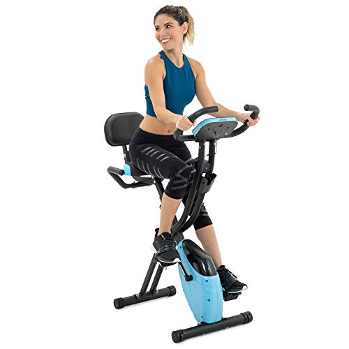 Folding Exercise Bike with 10-Level Adjustable Magnetic Resistance | Upright and Recumbent Foldable...