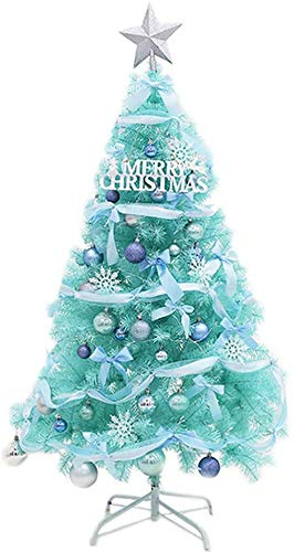 YUXO Christmas Tree with Blue Led Artificial PVC Warm White Light with Stand Christmas Decorations Fireproof-Blue Ornament