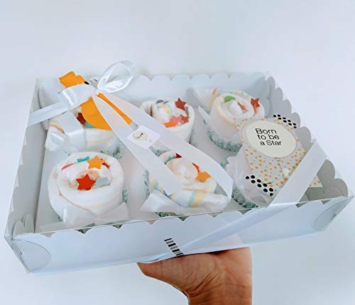 Scatola Elegante con 6 Cupcakes fatti con Pannolini DODOT | Baby Shower Gift Idea | Regalo Originale per Nascita o Battesimo | Color Neutro, UNISEX