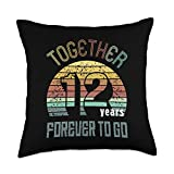Best Marriage Anniversary Gifts - Family Apparel 12th Years Wedding Anniversary Gifts For Couples Matching Throw Pillow, 18x18, Multicolor