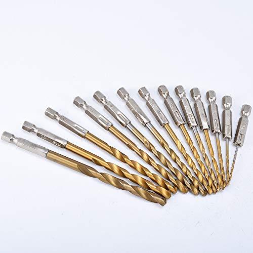 KATUR Juego de 13 brocas de titanio con vástago hexagonal, de alta velocidad, de cambio rápido, herramientas de perforación regulares para madera, plástico, aleación de aluminio de 1,5 a 6,5 mm