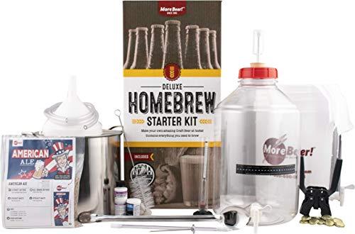 MoreBeer! Deluxe Homebrewing Starter Kit With American Ale Beer Brewing Recipe Kit, Stainless Steel...