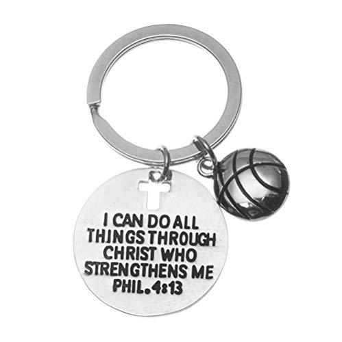 qws Schlüsselanhänger mit Basketballanhänger, christlicher Glaube, I Can Do All Things Through Christus, Who Strengthens Me Phil. 4 13 Schrift Schmuck, Basketball Geschenke