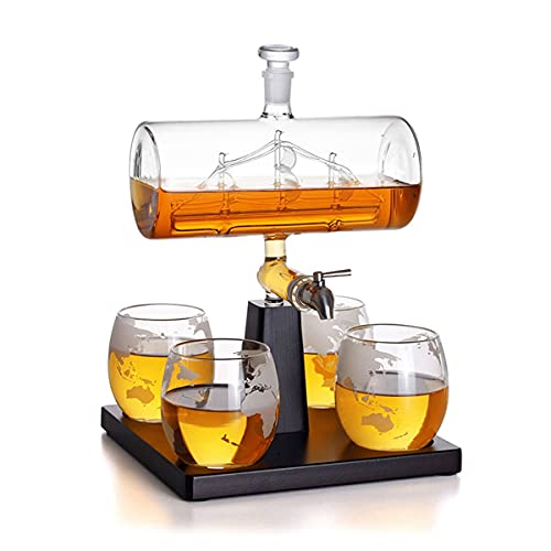 Partitions Conjuntos de decantores de Whisky, Vidrio de Vino de Estilo de Moda, Licor Hecho a Mano for Beber escocés