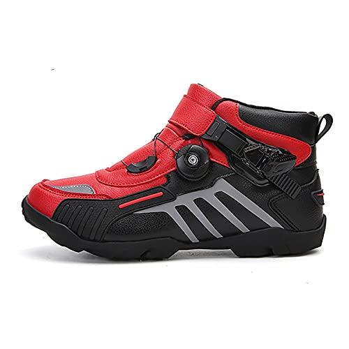 RTY Zapatillas de Ciclismo Antideslizantes, Zapatillas de Bicicleta de Carretera y Montaña Transpirables, Zapatillas Deportivas Asistidas,Rojo,37