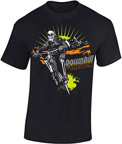 Kinder Fahrrad T-Shirt: Downhill Forever - Geschenk-e Jungen & Mädchen - Radfahrer-in Mountain Bike MTB BMX Roller Rad Outdoor Junge Kind - Schule Sport Trikot Geburtstag (134/146)