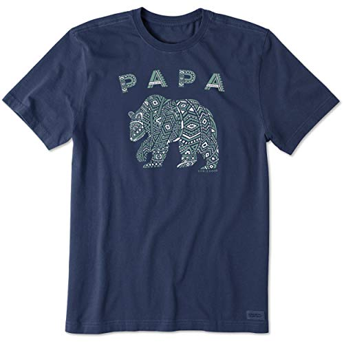Life Is Good Herren T-Shirt Crusher Dad/Handyman/Grill, Herren, Crusher T-Shirt Primal Bear, Bär Dunkelblau, Medium