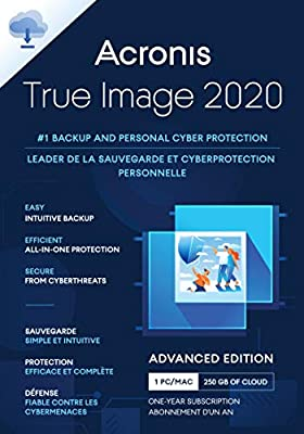 Acronis True Image 2020 Advanced Edition 500GB Cloud Storage | 1 Device | 1 Year [PC/Mac Online Code]