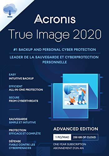 Acronis True Image 2020 | Advanced Edition 250GB Cloud Storage | 1 Gerät | 1 Jahr | PC/Mac | Aktivierungscode per Email