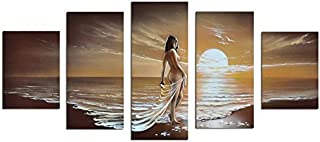Noah Art-Romantic Nude Art, 100% Hand Painted Seascape Artwork Contemporary Abstract Oil Paintings of Woman on Sunset Ocean Beach, 5 Panel Framed Nude Wall Art for Bedroom Wall Decoration