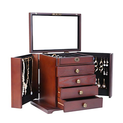 Caffny Large Women Wooden Jewelry Box,Built-in Mirror and Lock, Beautiful Carved Flowers at The top,...