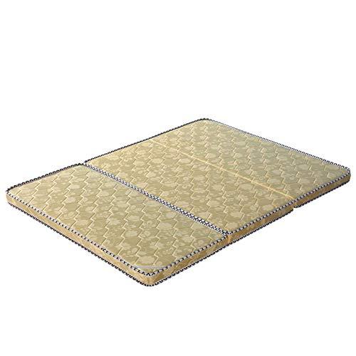 jhgsdh Tatami Tri-fold Mattress,Portable 3e Coconut Palm Mattress Pad Orthopedic Foldable Futon Mattress Firm Tatami Floor Mat-Yellow Queen