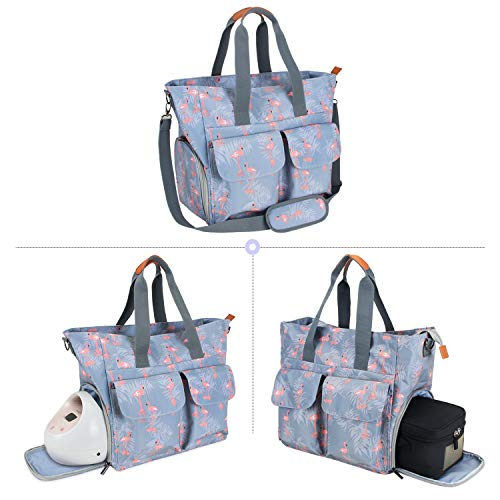 Teamoy Breast Pump Bag Compatible for Spectra S1,S2, Medela and Cooler Bag, Breast Pump Storage Tote with Laptop Sleeve (Up to 14') for Working Moms, Flamingo