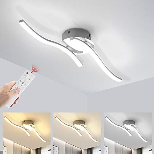 Wayrank Lámpara Led Techo Regulable, Plafon Led Techo con Mando a Distancia y Función de Memoria, 2 Placas de Luz LED para Sala de Estar Dormitorios Pasillo Oficina Cocina, 3000K-6000K