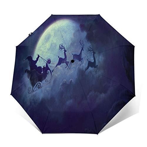 TISAGUER Paraguas automático de Apertura/Cierre,Mundo de Cuento de Hadas 3D,una Luna Enorme en el Cielo,Papá Noel en un Trineo de Alces,Feliz Navidad,Paraguas pequeño Plegable a Prueba de Viento