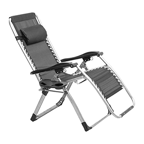 FACAZ Zero Gravity Chair with Headrest Folding Recliner Sun Lounger Garden Chairs Patio Pool Outdoor Chair Black