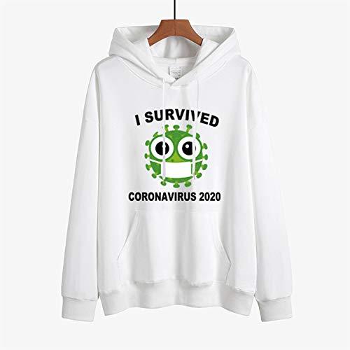 YBCN 2021 Hombres Y Mujeres Sudaderas Con Capucha De Moda E Interesante 2020 Coronavirus Survivors Memorial Tema Sudaderas Con Capucha Sudadera, Blanco, XXL
