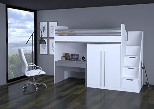 Polini City Hochbett Kombination mit Treppe Schrank und Tisch weiß grau