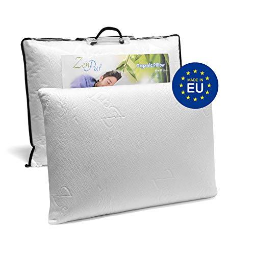 ZenPur Oreiller Memoire Forme Cervicales Douloureuses Fabriqué en Europe - Certification Oeko TEX - Oreiller Anti Ronflement, Orthopédique et Ergonomique (60x40cm-Simple)