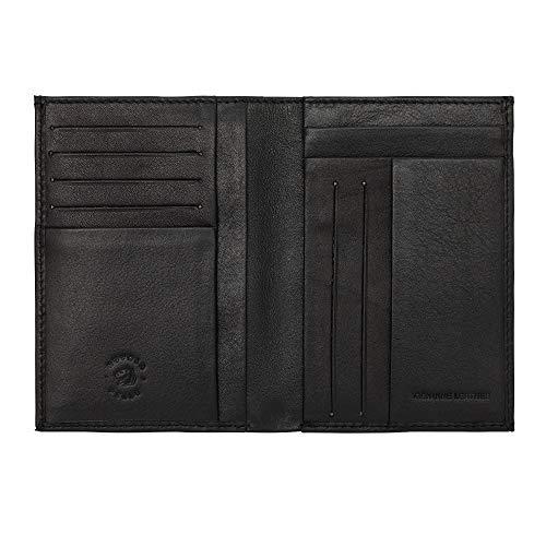 Nuvola Pelle Portafoglio Uomo in Pelle Sottile Slim formato Verticale Porta Carte Documenti Tessere Banconote Nero