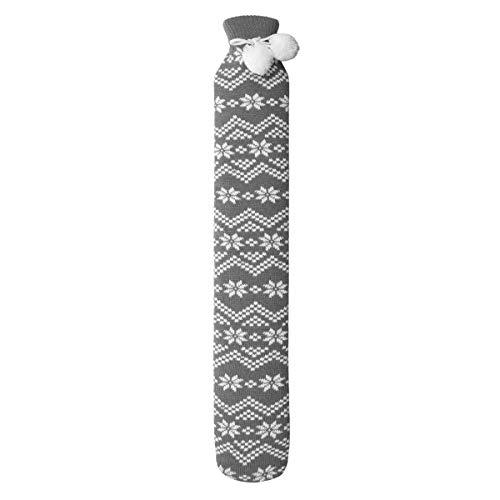 Wärmflasche, Lange Wärmflasche 28.3 * 4.7 inch Wärmeflaschen mit Weichem Strickbezug Sichere und haltbare Thermosflasche lindert Bauch, Rücken und Nackenschmerzen schnell (Grau)