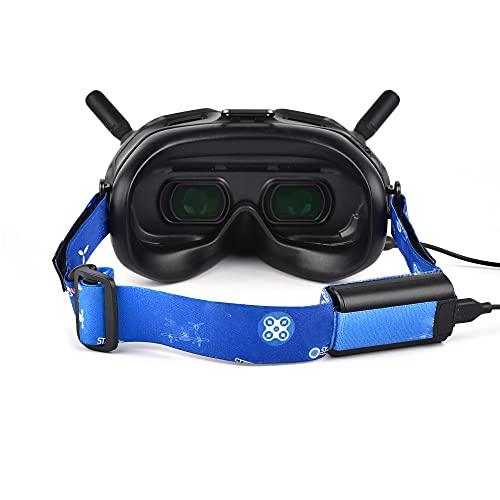 Prodrocam Kopfgurt Stirnband Hände frei für DJI FPV Goggles V2 oder VR Headset Verstellbarer Gurt mit Batteriefach und Kabelloch (Blau)