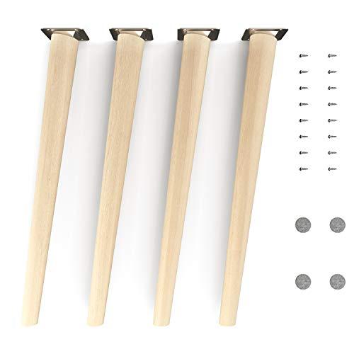 patas para muebles de madera - sossai® Clif | Naturaleza (sin tratar) | Altura: 45 cm | HMF2 | redondo, cónico (diseño inclinado) | material: madera maciza (haya) | para sillas, mesas, armarios, etc.
