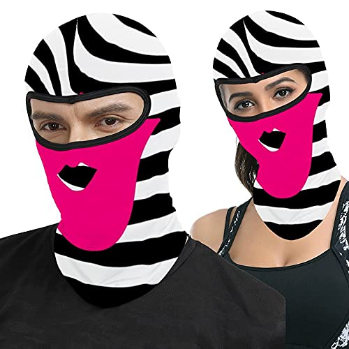 Lips Kiss Beauty Glamour Fashion Girly Pink Zebra Full Face Ma-sk Hood Outdoor Tactical Headcover Riding Motorcycle Mask Hunting Fishing Windproof Sunscreen
