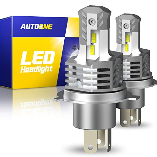 AUTOONE H4 9003 HB2 Hi/Lo LED Headlight Bulbs, Adjustable Beam 12,000LM Canbus for High Low Beam 6000K White, Pack of 2