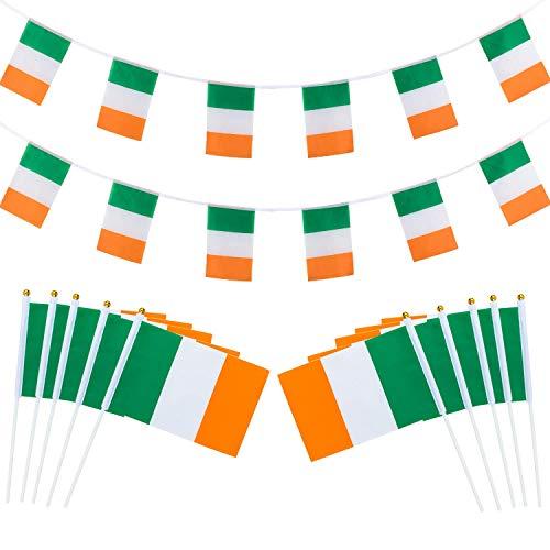 SHI WU St.Patrick's Day Ierse Bunting Banner, 5M 15ft Ierland Banner Stof Vlag met 15 vlaggen Ierland Stick Flag, en Ierse Nationale Handheld Mini Vlag met 12