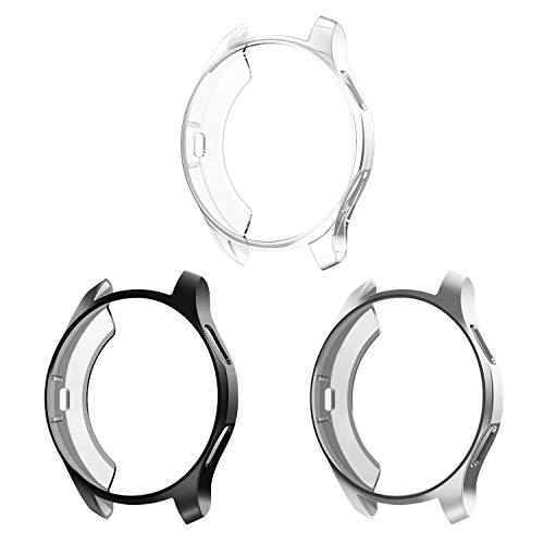 FINTIE Custodia Compatible con Samsung Galaxy Watch 46mm/Gear S3/ S3 Frontier/Classic [3 Pezzi], TPU Morbido Case Protettiva Rugged Cover all-Around Protective Bumper Shell, Nero/Argento/Chiaro