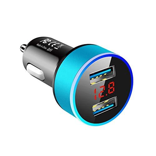 Deliu Cargador de Coche USB Dual 3.1A con Pantalla LED Cargadores de Coche universales para teléfono móvil Azul