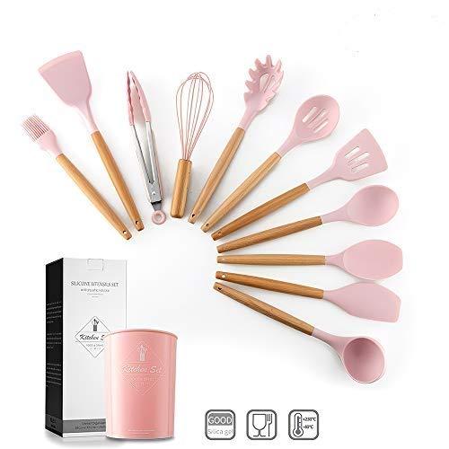 12 Pezzi Utensili Cucina Silicone,Set Cucina Silicone,Manico Legno/Non Tossico/Resistenza al Calore/Antiaderente/Non Tossico/Regalo per la Famiglia,Rosa