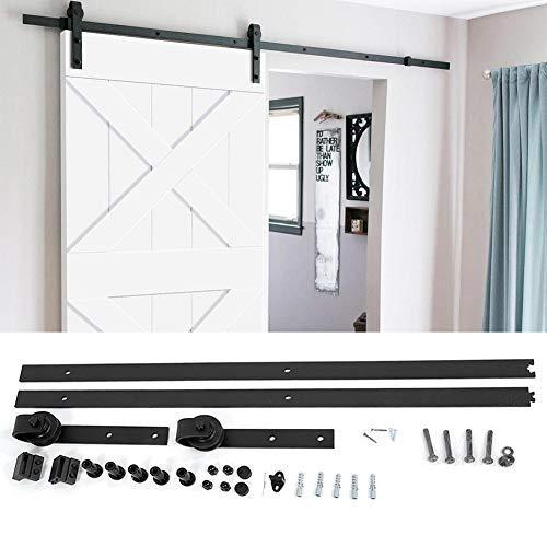200CM Porta Scorrevole porta armadio hardware Track Kit fienile in legno porta,acciaio nero (200cm)