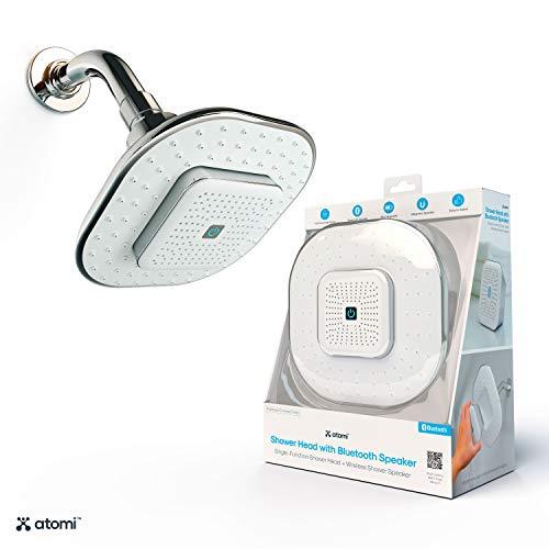 Atomi Bluetooth Shower Head - Wireless Bathroom Speaker, Detachable, Answer Phone Calls, Full-Coverage Spray Nozzle